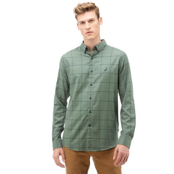 NAUTICA Erkek Yeşil Classic Fit Kareli Gömlek