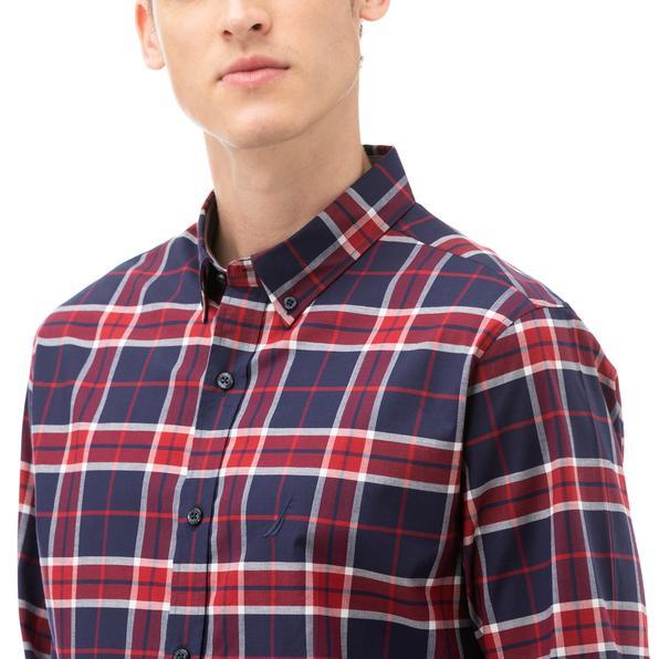 NAUTICA Erkek Kırmızı Slim Fit Kareli Gömlek