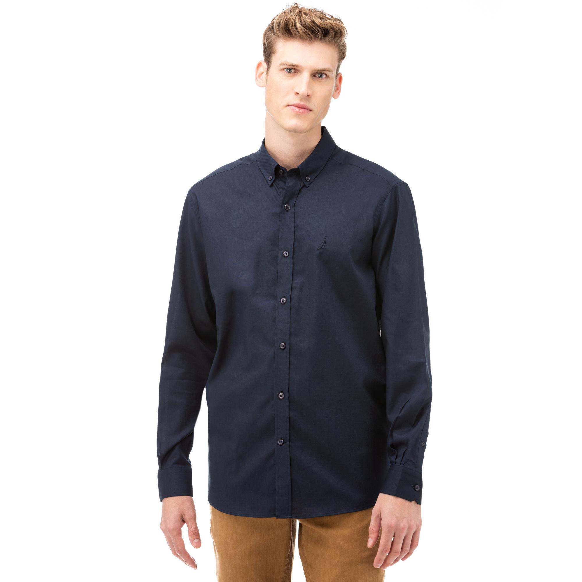 NAUTICA Erkek Lacivert Classic Fit Gömlek