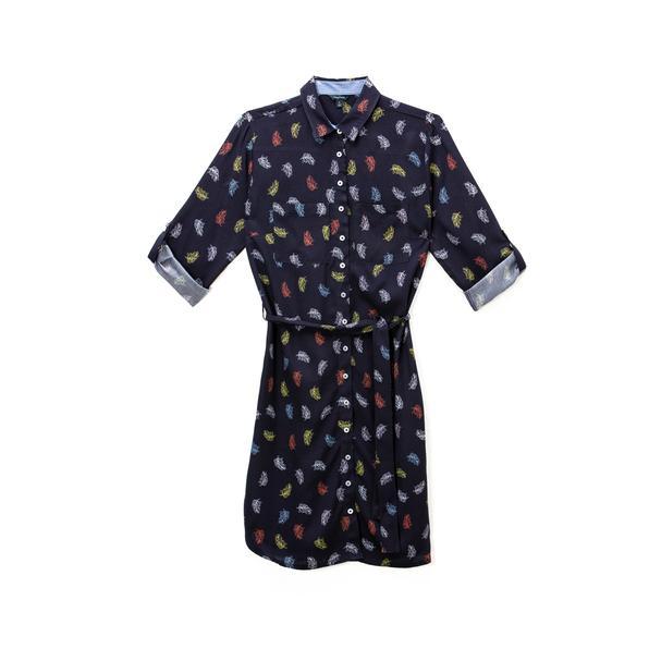 NAUTICA Kadın Lacivert Uzun Kollu Standart Fit Desenli Elbise