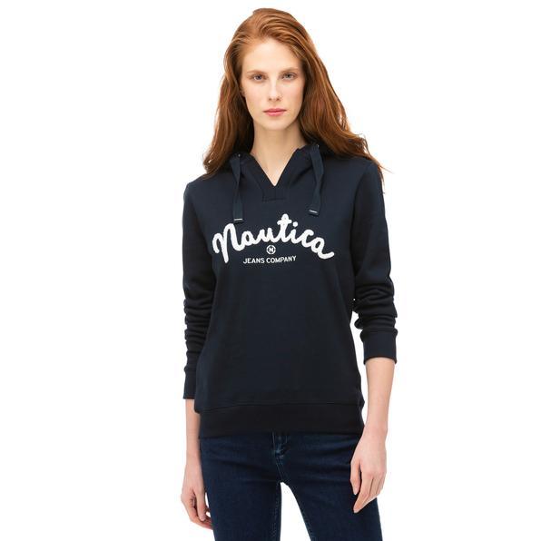 NAUTICA Kadın Lacivert Baskılı Sweatshirt