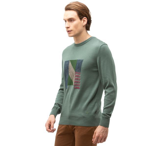 NAUTICA Erkek Yeşil Baskılı Triko
