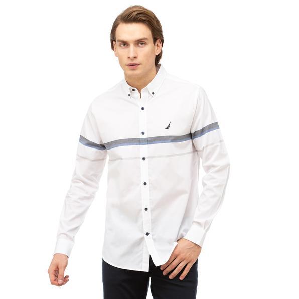 NAUTICA Erkek Beyaz Slim Fit Blok Desenli Gömlek