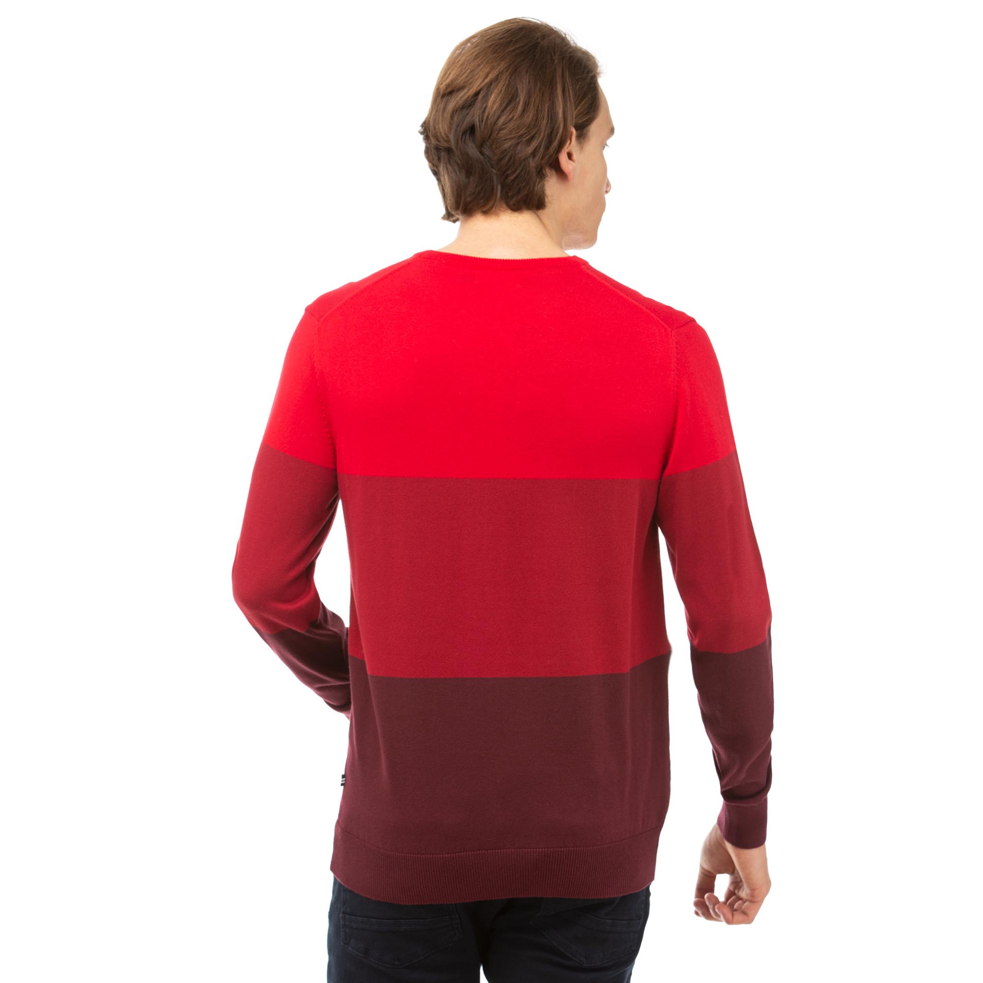 NAUTICA Erkek Kırmızı Blok Desenli Triko