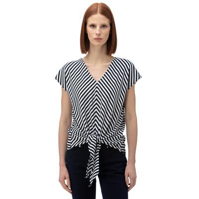 NAUTICA Kadın Lacivert Çizgili V-Yaka T-Shirt