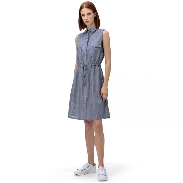 NAUTICA Kadın Lacivert Çizgili Keten Elbise