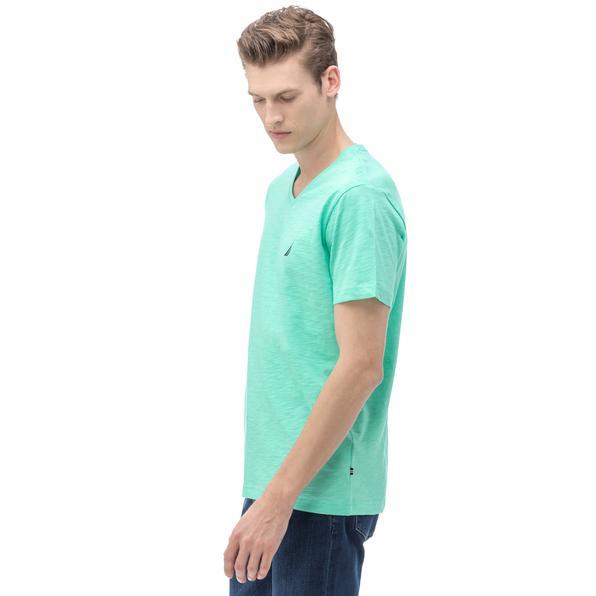 Nautica Erkek V Yaka Slim Fit Yeşil T-Shirt