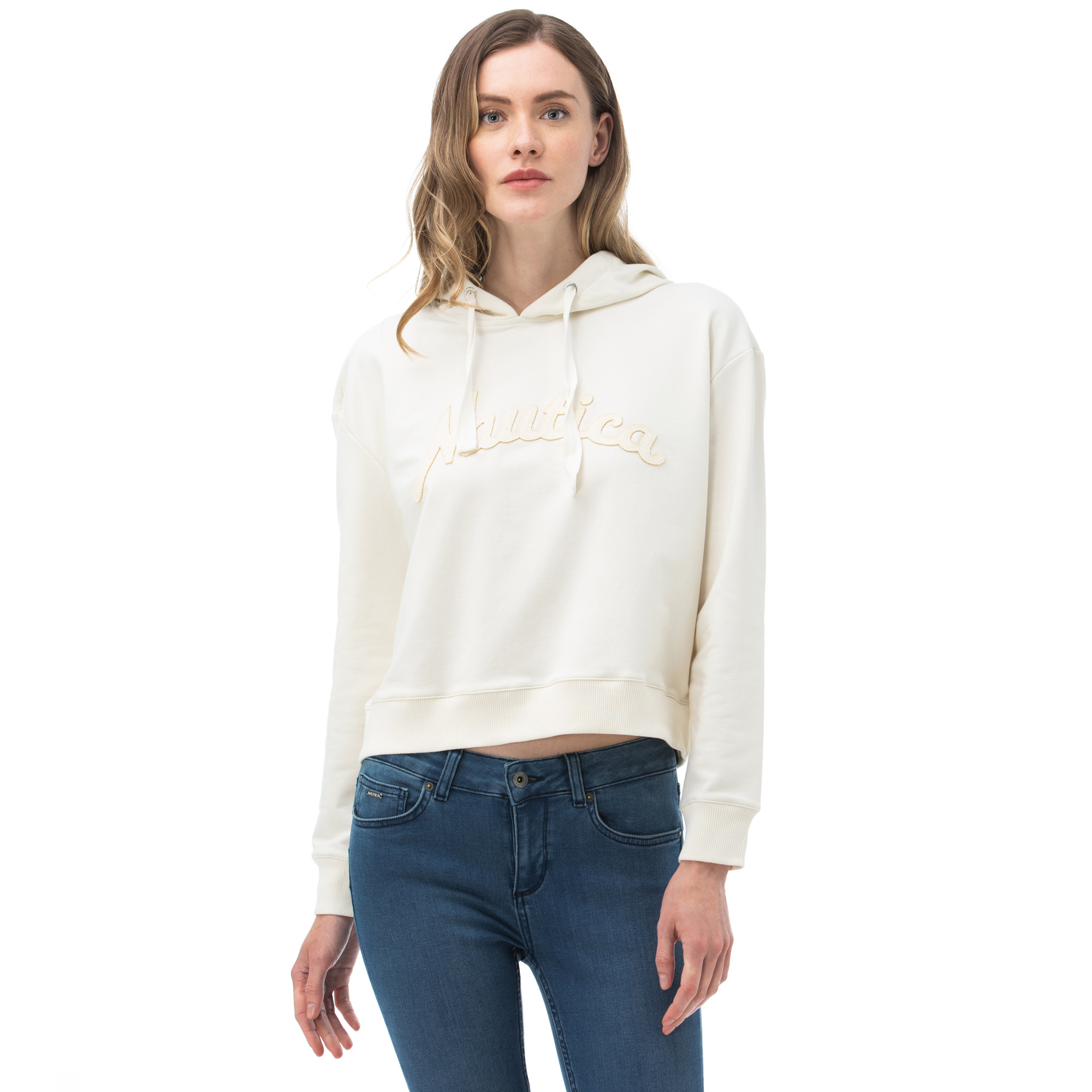 NAUTICA Kadın Kırık Beyaz Sweatshirt
