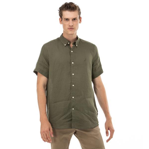 NAUTICA Erkek Classic Fit Haki Kısa Kollu Gömlek