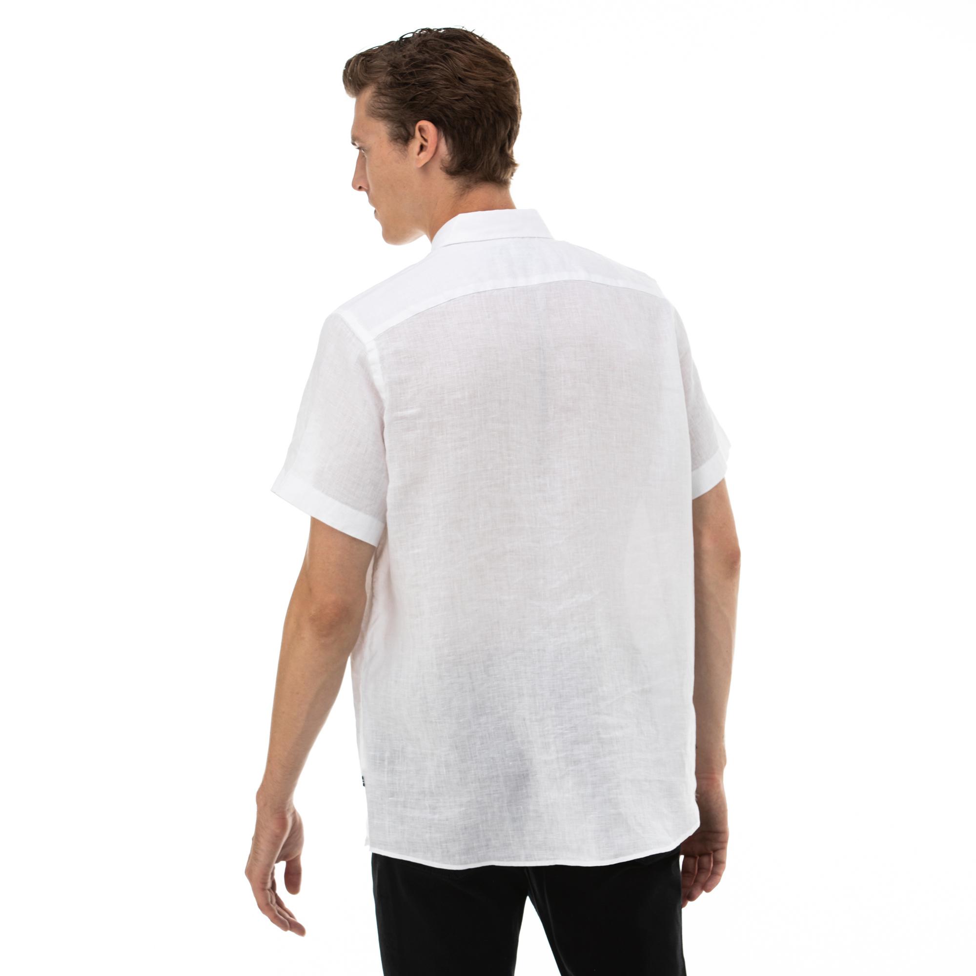NAUTICA Erkek Classic Fit Beyaz Kısa Kollu Gömlek