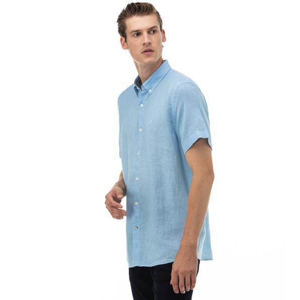 NAUTICA Erkek Classic Fit Mavi Kısa Kollu Gömlek