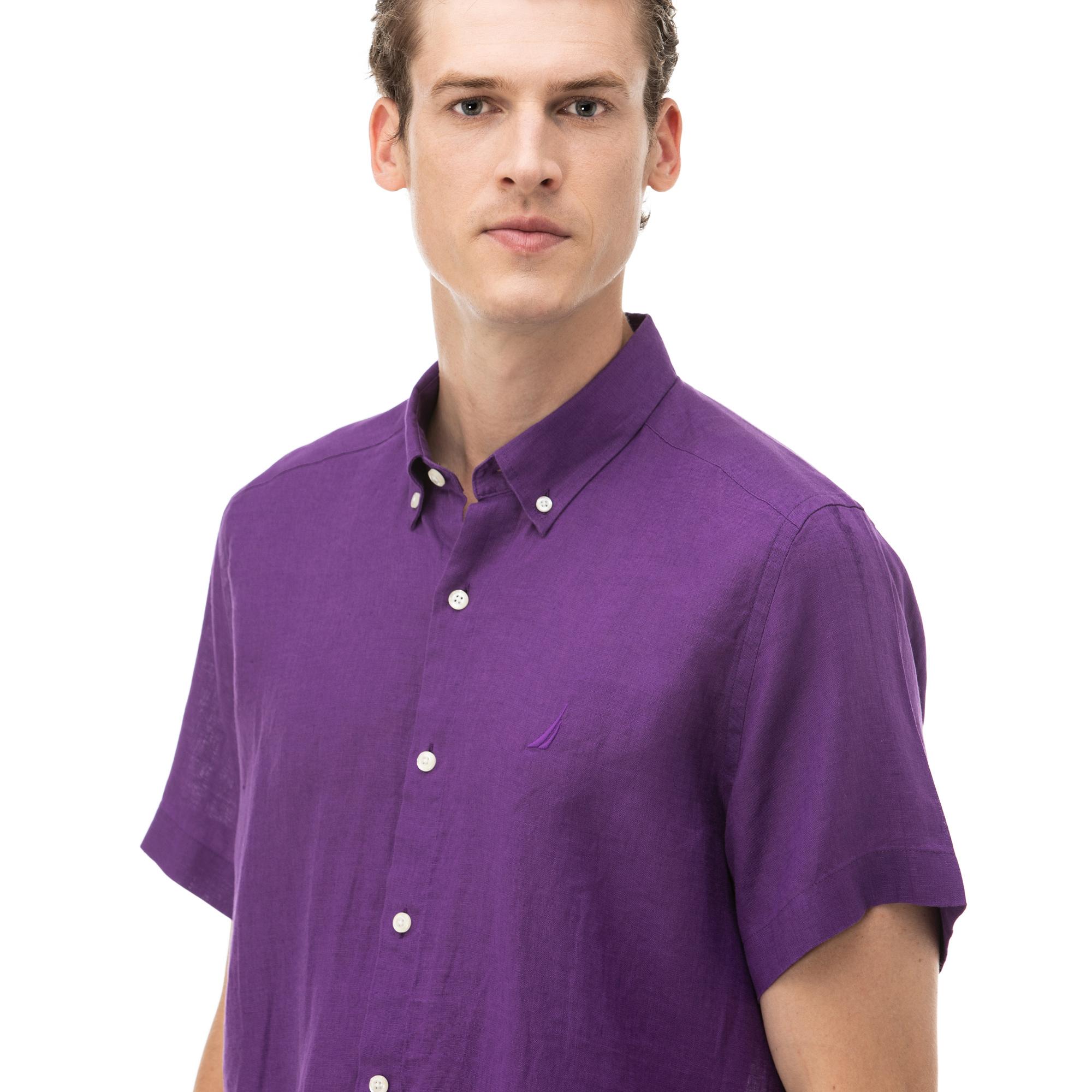 NAUTICA Erkek Classic Fit Mor Kısa Kollu Gömlek
