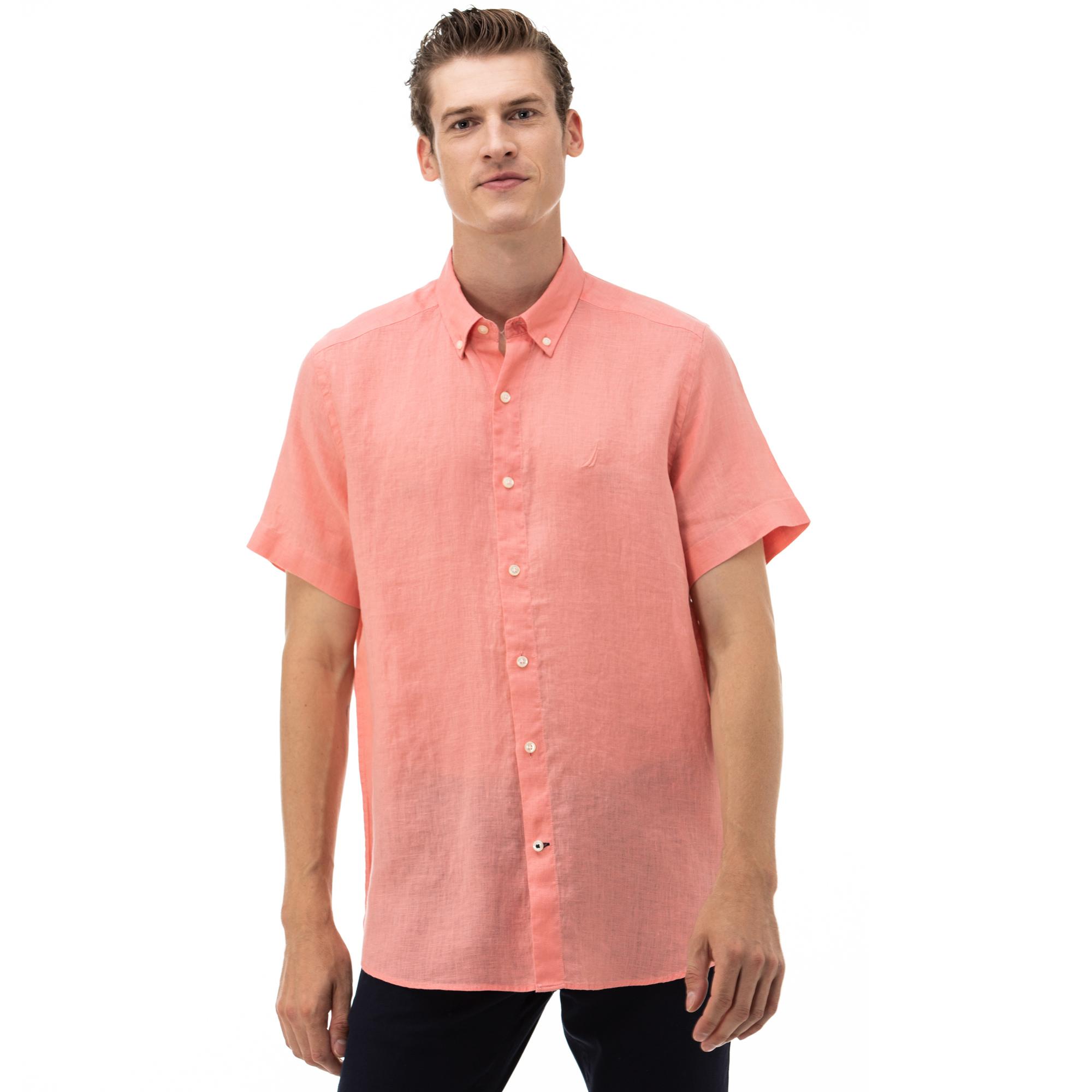 NAUTICA Erkek Classic Fit Pembe Kısa Kollu Gömlek