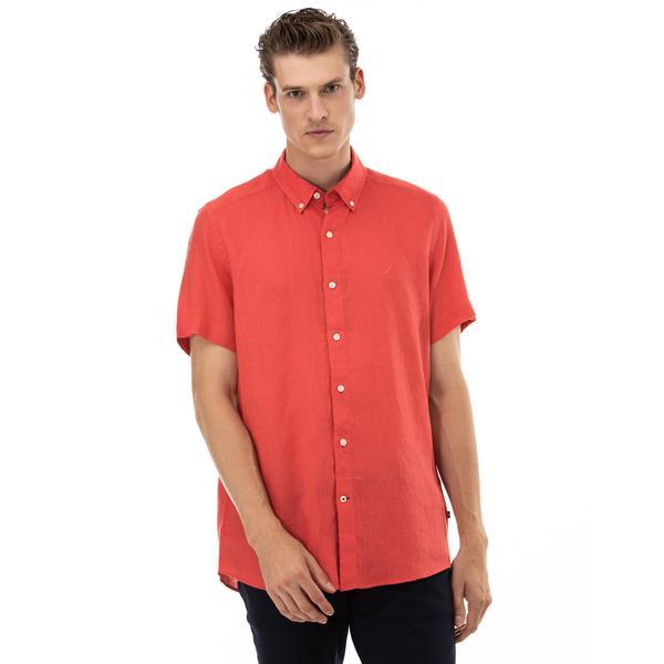 NAUTICA Erkek Classic Fit Kırmızı Kısa Kollu Gömlek