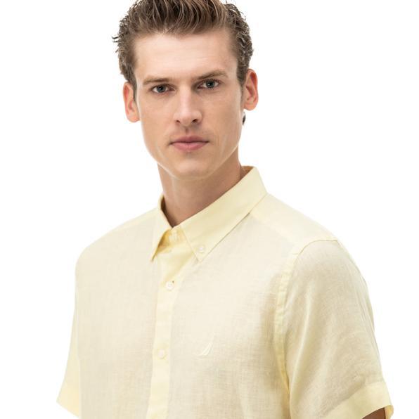 NAUTICA Erkek Classic Fit Sarı Kısa Kollu Gömlek