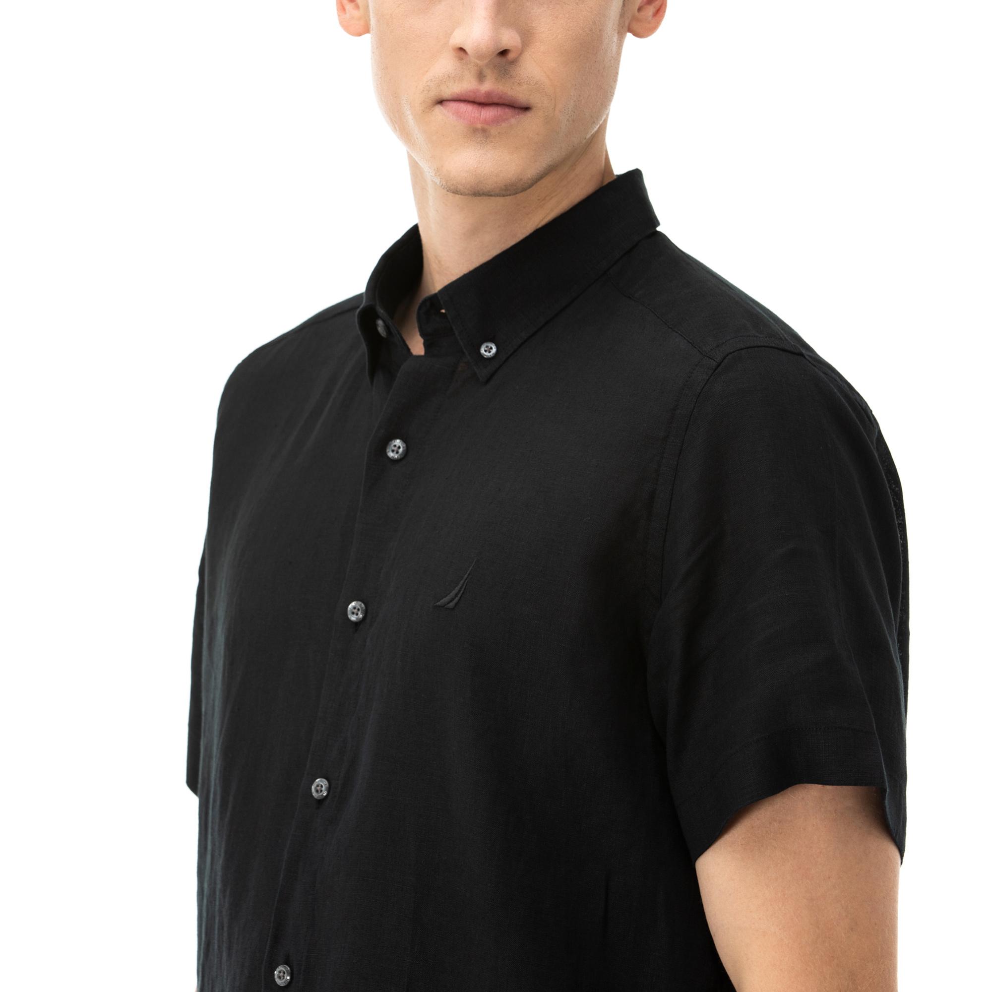 NAUTICA Erkek Classic Fit Siyah Kısa Kollu Gömlek