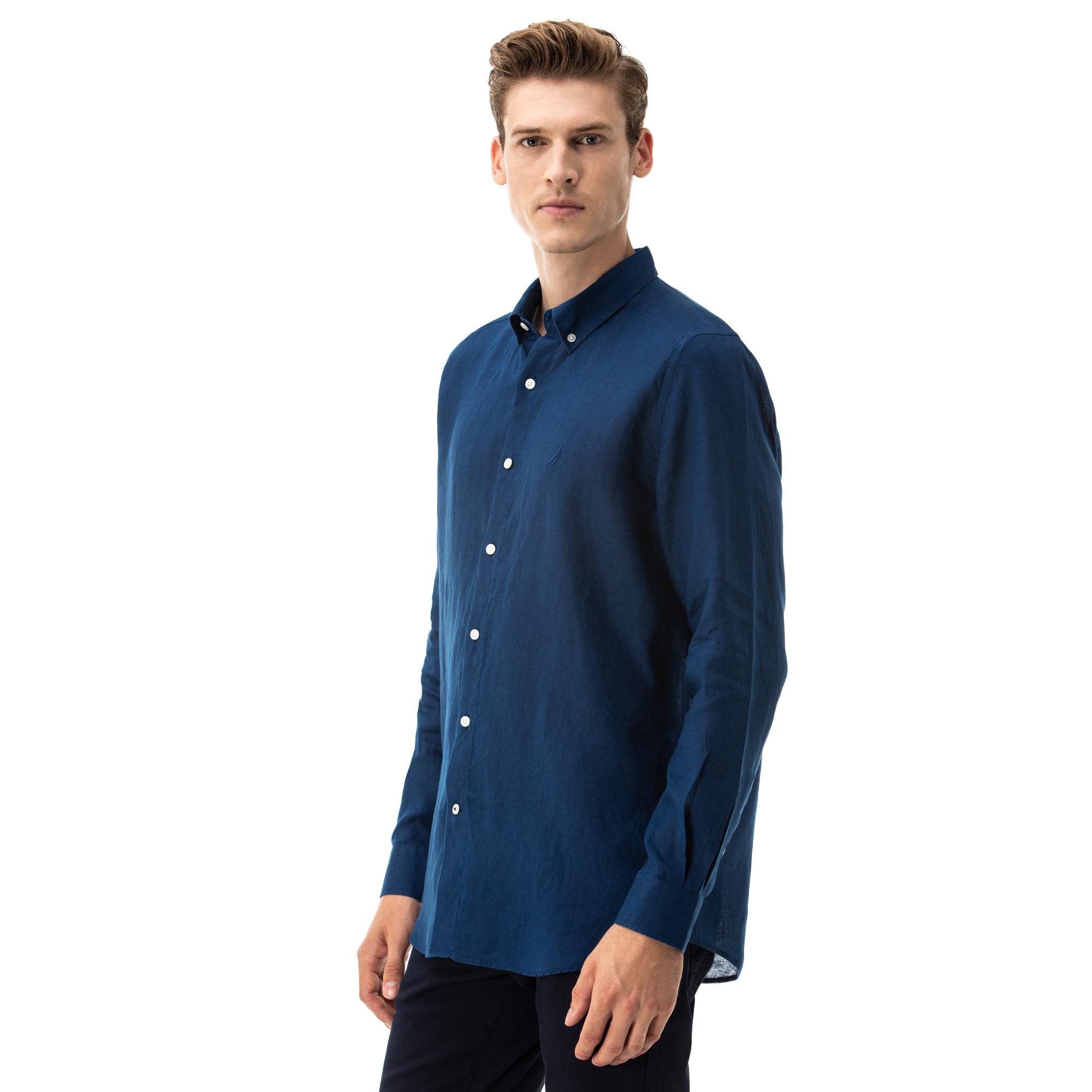 NAUTICA Erkek Classic Fit Mavi Gömlek