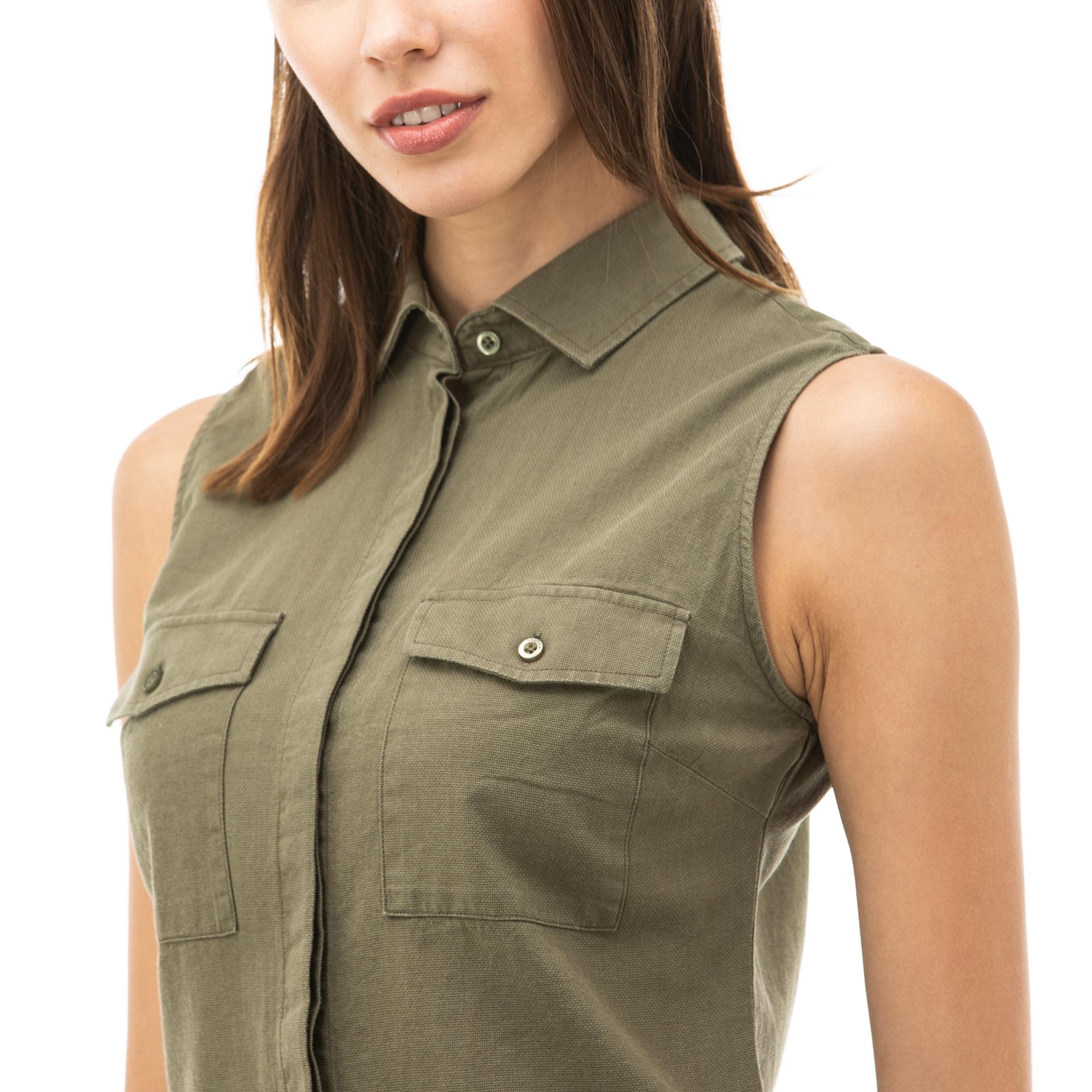 NAUTICA Kadın Haki Kolsuz Gömlek