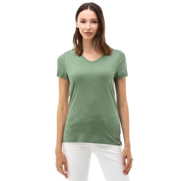 NAUTICA Kadın Yeşil V-Yaka T-SHIRT
