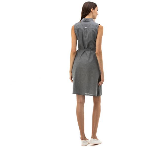 NAUTICA Kadın Antrasit Keten Elbise
