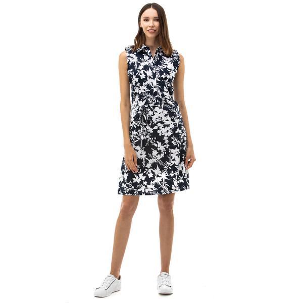 NAUTICA Kadın Çiçek Desenli Lacivert Elbise