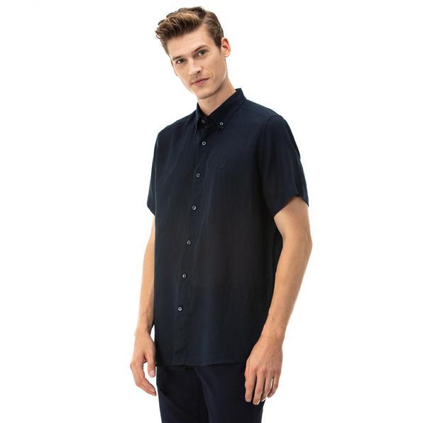 NAUTICA Erkek Classic Fit Lacivert Kısa Kollu Gömlek