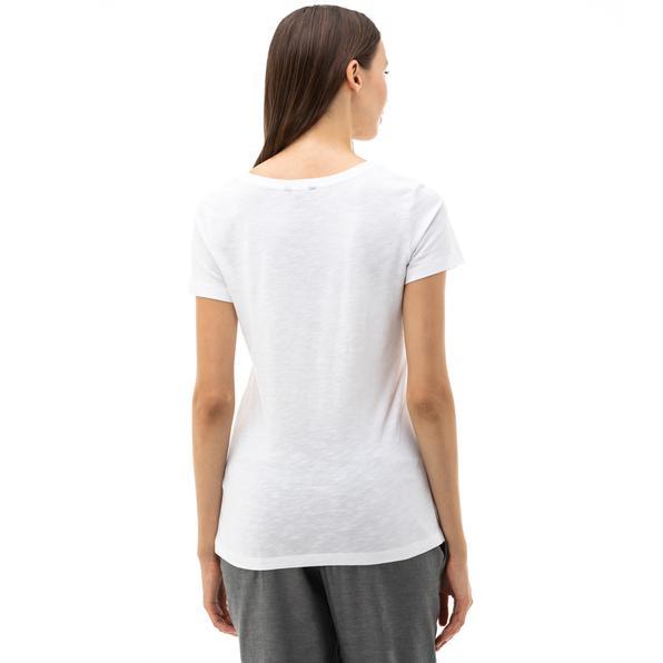 NAUTICA Kadın Beyaz V-Yaka T-Shirt
