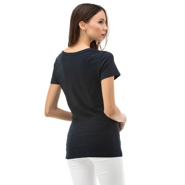 NAUTICA Kadın Lacivert V-Yaka T-Shirt