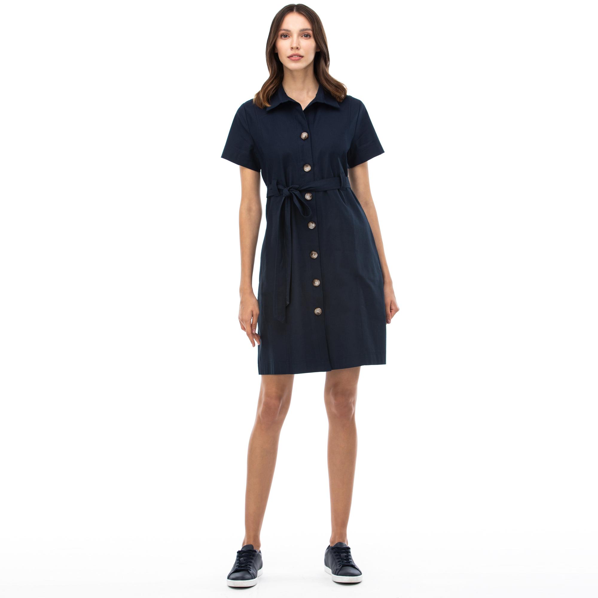 NAUTICA Kadın Lacivert Polo Yaka Elbise