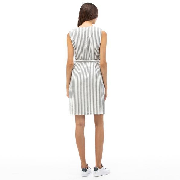 NAUTICA Kadın Haki Çizgili V Yaka Keten Elbise