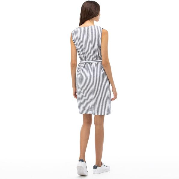 NAUTICA Kadın Lacivert Çizgili V Yaka Keten Elbise