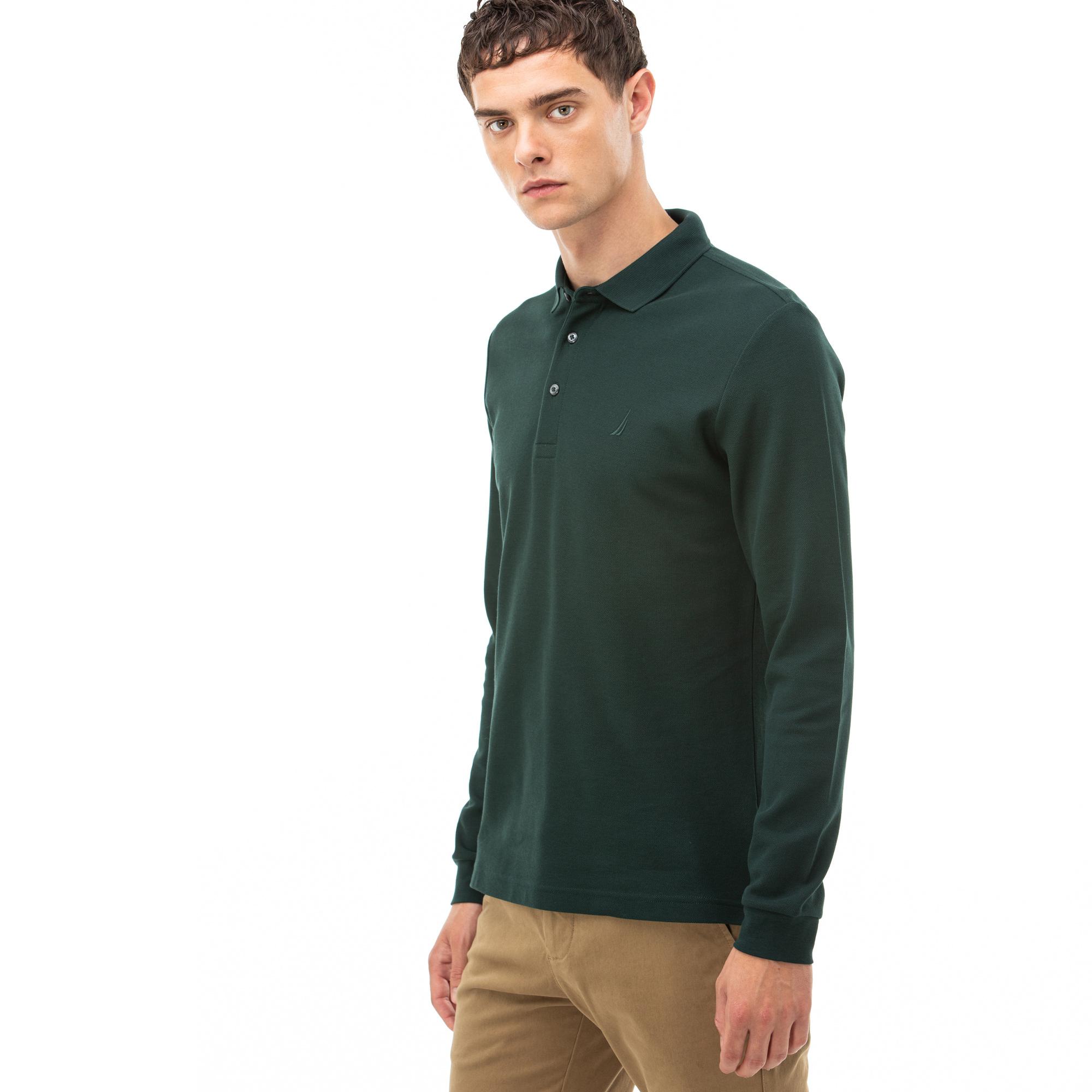 NAUTICA Erkek Yeşil Slim Fit Uzun Kollu Polo