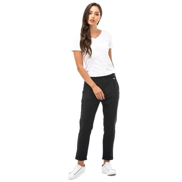 NAUTICA Kadın Lacivert Standart Fit Çizgili Pantolon