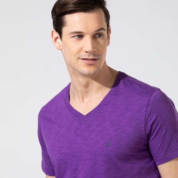NAUTICA Erkek Mor V-Yaka T-Shirt