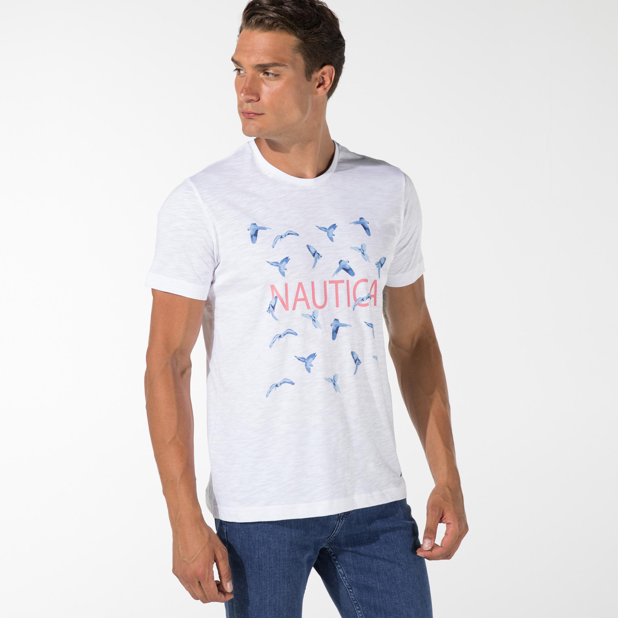NAUTICA ERKEK BEYAZ BASKILI T-SHIRT